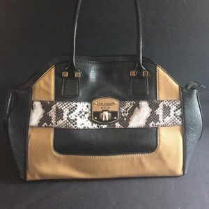 Guess women's handbag purse Black Tan Snakeskin